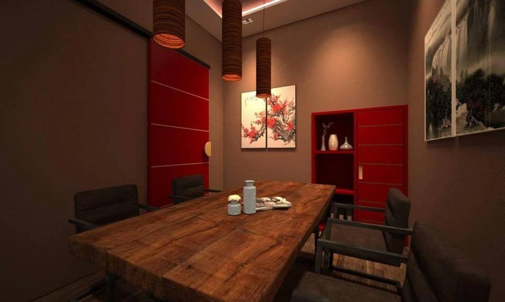 Wellness Spa with Oriental Design, Commercial, Interior Designer, RK Interior Studio, Vintage, Modern, Dining Room, Couch, Furniture, Indoors, Interior Design, Room, Dining Table, Table, Art, Modern Art, Lamp, Lampshade