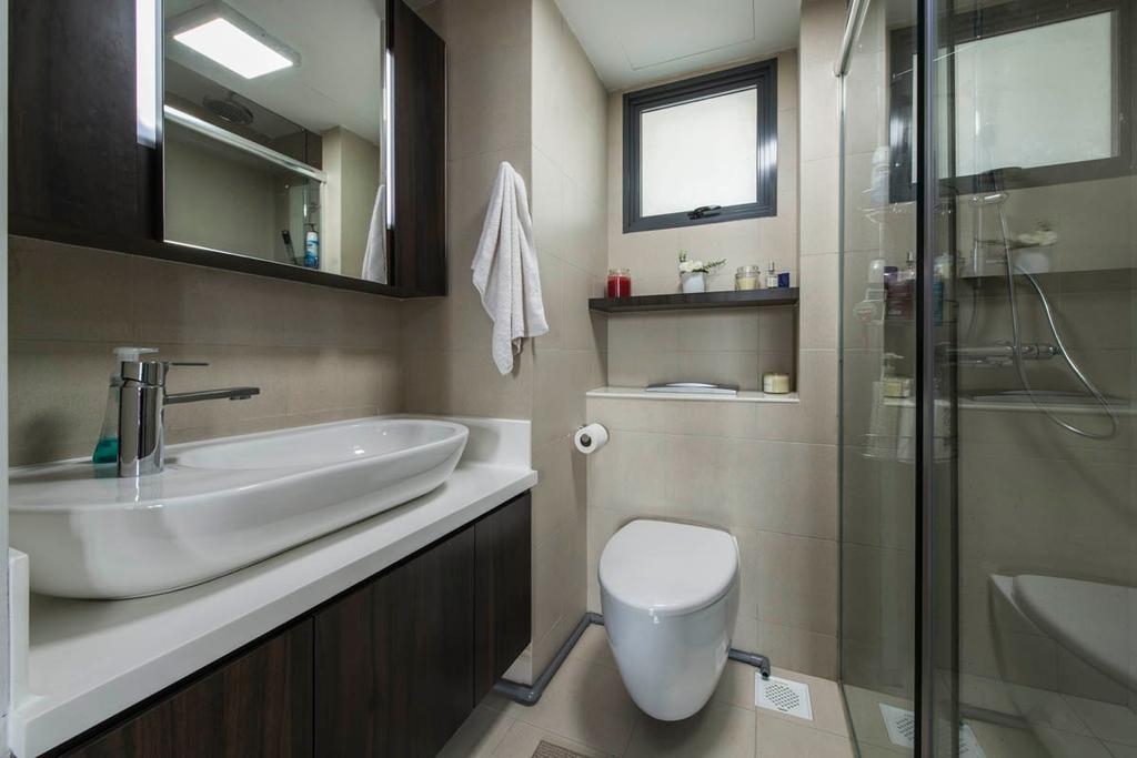 Contemporary, HDB, Bathroom, The Pinnacle@Duxton, Interior Designer, Edge Interior, Basin, Faucet, Vanity Basin, Vanity Counter, Water Closet, Shower, Toilet Bowl, Brown Tiles, Sink, Indoors, Interior Design, Room