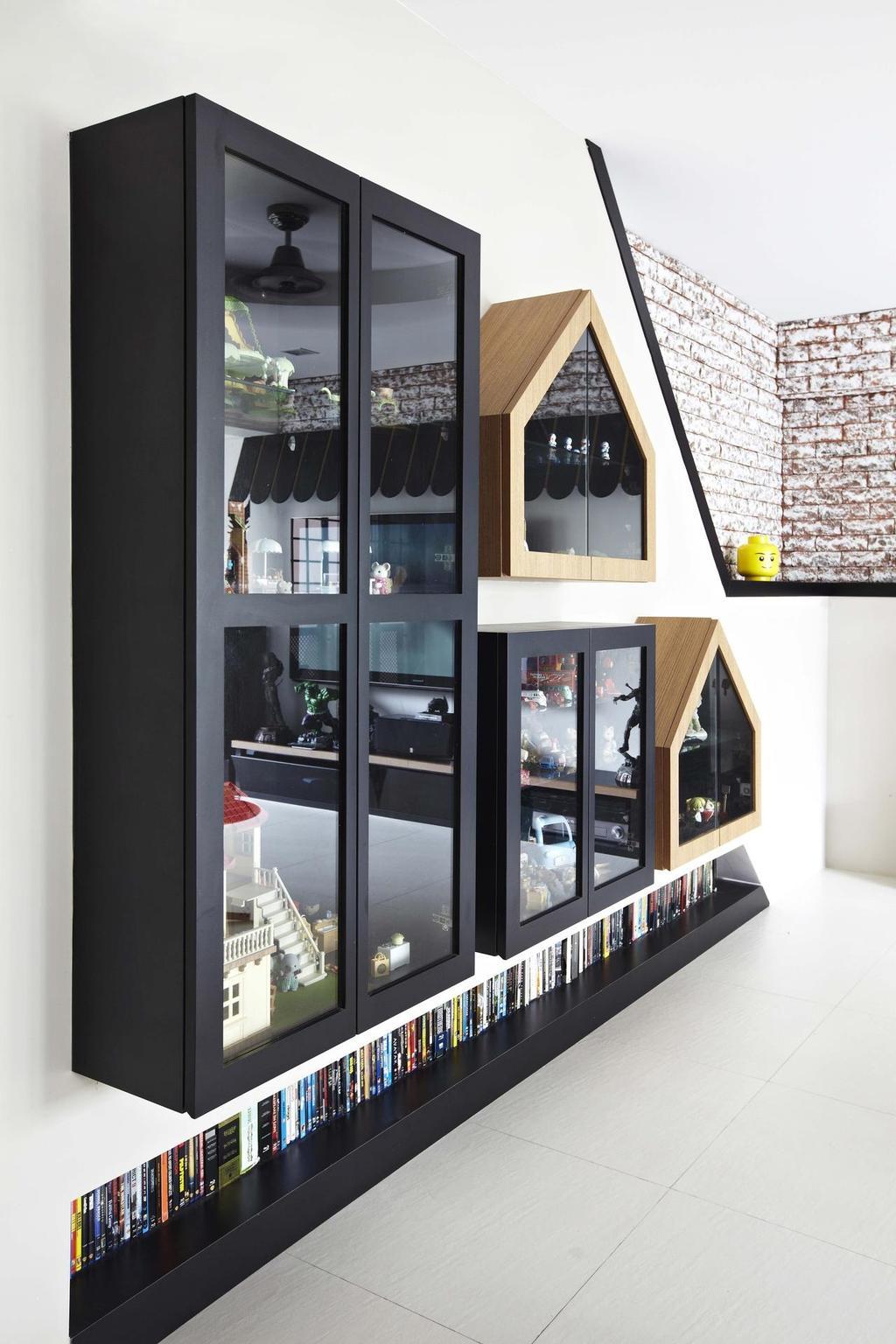 Eclectic, HDB, Living Room, Rivervale Crescent, Interior Designer, Dan's Workshop, Laminate, Book Shelf, Display Shelf, Brick Wall, Collage, Poster