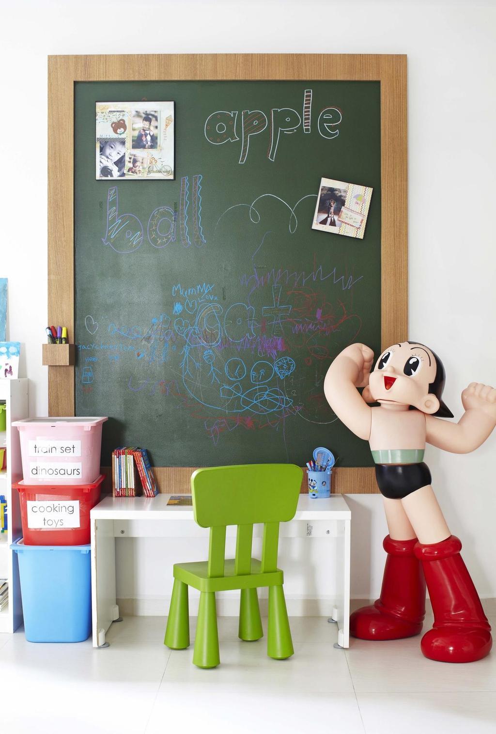Eclectic, HDB, Study, Rivervale Crescent, Interior Designer, Dan's Workshop, Chalkboard, Plastic Chair, Blackboard, Figurine