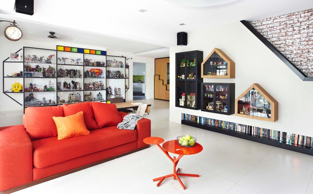 Eclectic, HDB, Living Room, Rivervale Crescent, Interior Designer, Dan's Workshop, Display Shelf, Display Cabinet, Book Shelf, Bookshelf, Red Sofa, Toys, Toy Display, Couch, Furniture, Indoors, Interior Design