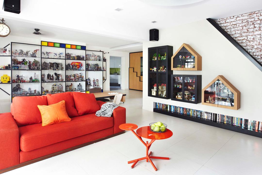Rivervale Crescent, Dan's Workshop, Eclectic, Living Room, HDB, Display Shelf, Display Cabinet, Book Shelf, Bookshelf, Red Sofa, Toys, Toy Display, Couch, Furniture, Indoors, Interior Design