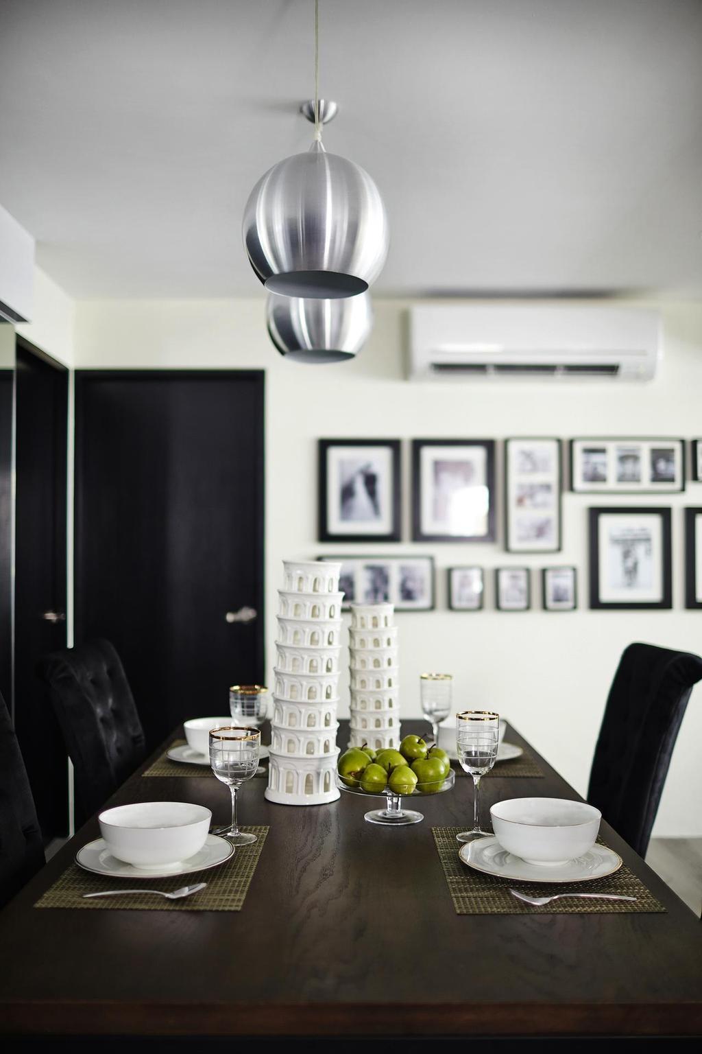 Modern, HDB, Dining Room, Lengkong Tiga, Interior Designer, Dan's Workshop, Drop Light, Frames, Dining Table, Cutlery, Collage, Poster