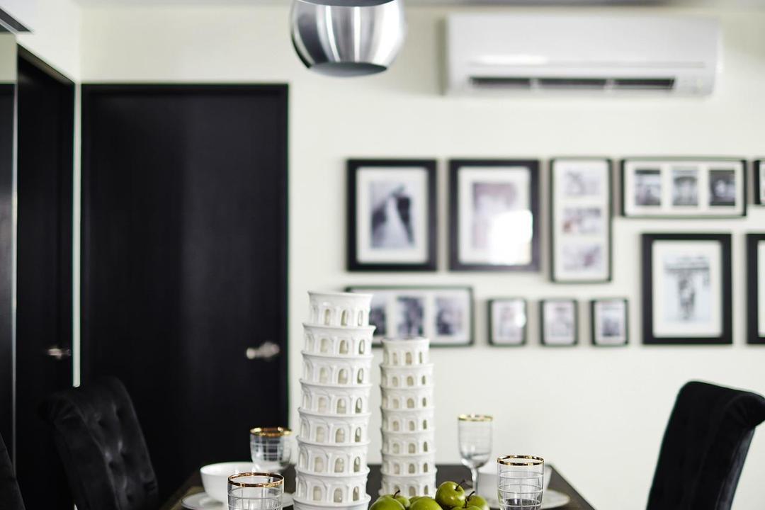 Lengkong Tiga, Dan's Workshop, Modern, Dining Room, HDB, Drop Light, Frames, Dining Table, Cutlery, Collage, Poster