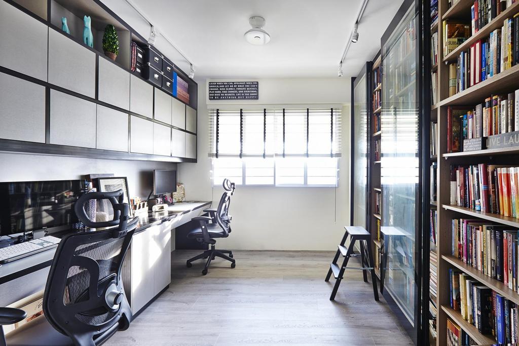 Modern, HDB, Study, Lengkong Tiga, Interior Designer, Dan's Workshop, Parquet Flooring, Wooden Floor, Bookshelf, Storage, Indoors, Interior Design, Library, Room
