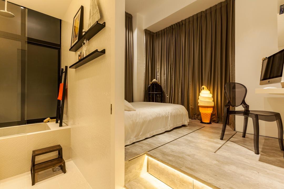 Beacon Heights, Rhiss Interior, Modern, Condo, Platform Bed, Partition, Cove Lights, Chair, Furniture, Flooring