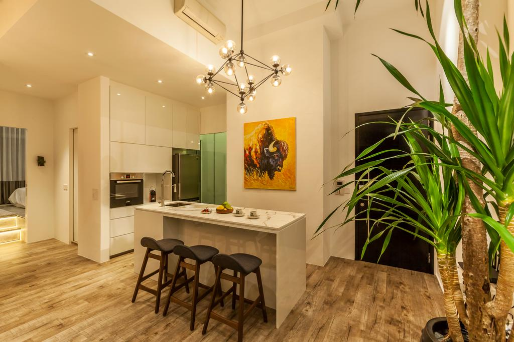 Modern, Condo, Dining Room, Beacon Heights, Interior Designer, Rhiss Interior, Dry Kitchen, White Island Table, Wood Floor, Black Stool, Dining Lights, Down Light, Flora, Jar, Plant, Potted Plant, Pottery, Vase, Dining Table, Furniture, Table, Indoors, Interior Design, Room, Flooring, Art, Painting, Chair