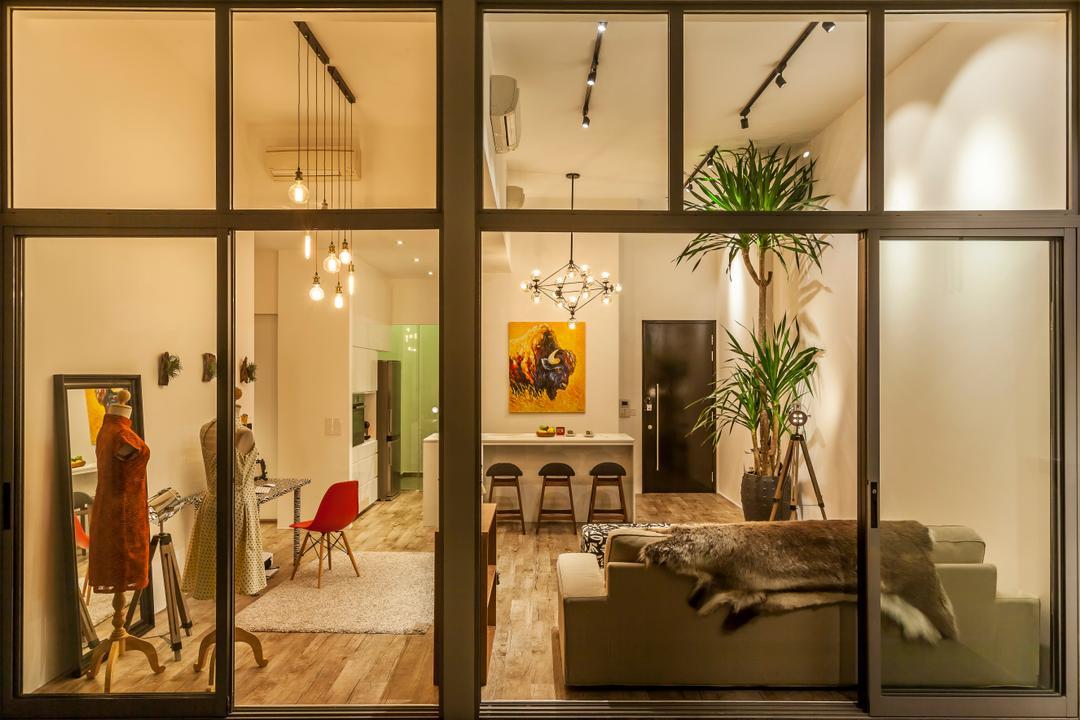 Beacon Heights, Rhiss Interior, Modern, Living Room, Condo, Glass Windows, Black Track Lights, Wood Floor, Flora, Jar, Plant, Potted Plant, Pottery, Vase, Indoors, Interior Design, Furniture