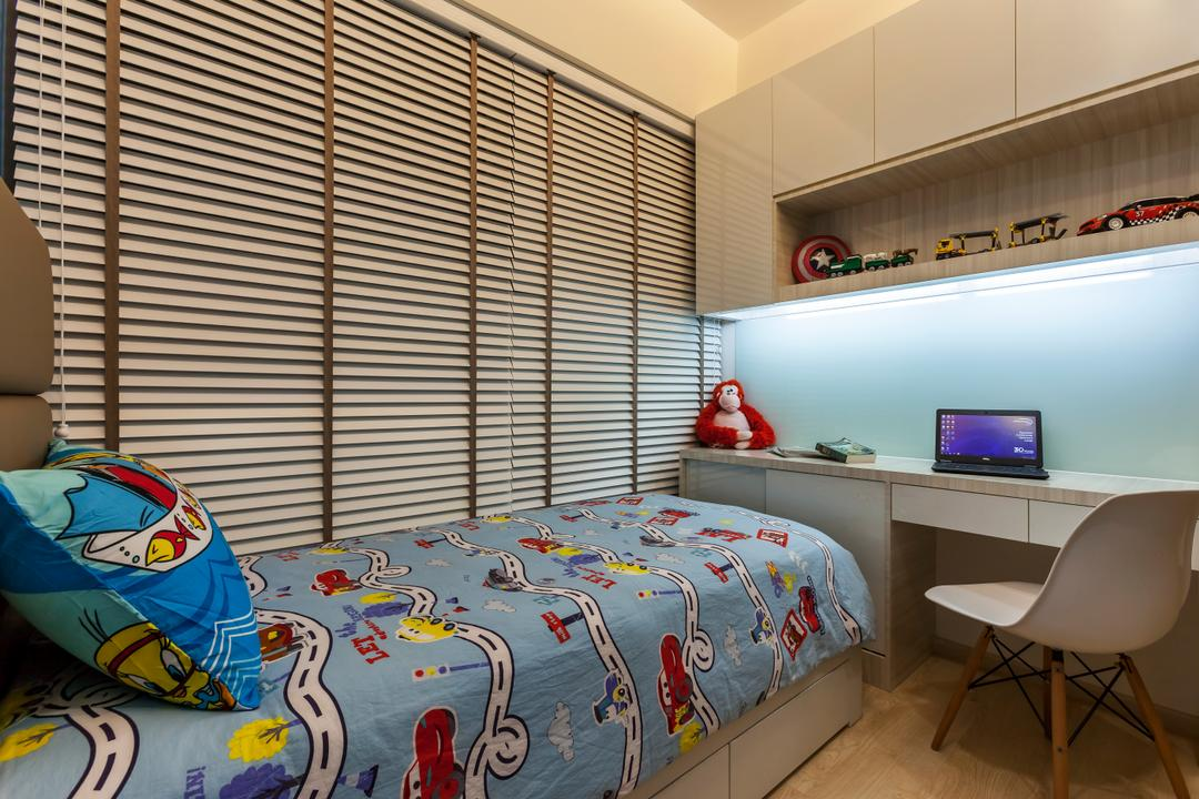 H2O Residences, Rhiss Interior, Traditional, Bedroom, Condo, Venetain Blinds, Wood Floor, White Cabinets, White Study Desk, Children Room, Kids Room, Chair, Furniture, HDB, Building, Housing, Indoors, Loft