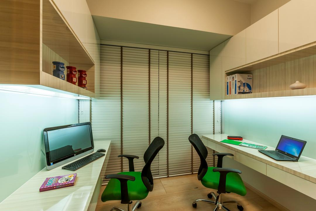 H2O Residences, Rhiss Interior, Traditional, Study, Condo, White Venetian Blinds, White Study Desk, Wood Floor, Book Shle, Green Roller Chiars, Chair, Furniture, Computer, Electronics, Laptop, Pc, Indoors, Interior Design