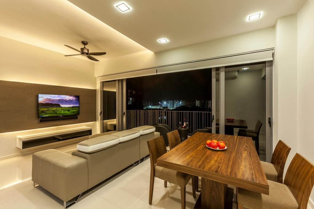 Traditional, Condo, Living Room, H2O Residences, Interior Designer, Rhiss Interior, Marble Floor, Down Light, Wood Dining Table, Wood Dining Chairs, Wood Feature Wall, White Tv Console, Roller Blinds, Furniture, Ottoman, Dining Table, Table, Dining Room, Indoors, Interior Design, Room, Electronics, Entertainment Center, Home Theater
