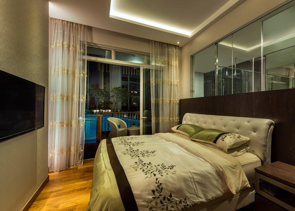 Contemporary, Condo, Bedroom, Floridian, Interior Designer, Rhiss Interior, White Head Board, Parquet, Cove Lights, Bed, Furniture, Appliance, Electrical Device, Microwave, Oven, Indoors, Room