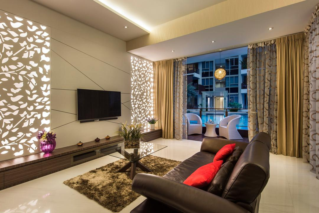 Floridian, Rhiss Interior, Contemporary, Living Room, Condo, White Marble Floor, Down Light, Cove Lights, White Feature Wall, Wood Tv Console, Couch, Furniture, Indoors, Interior Design, Chair