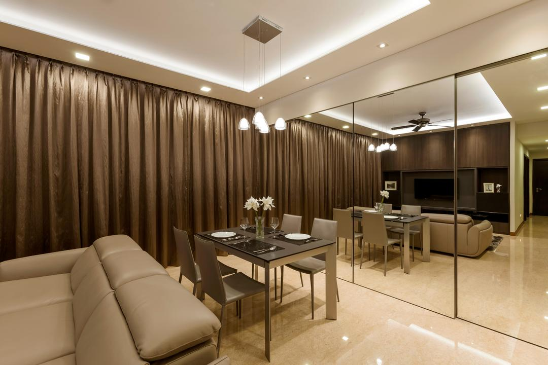 Casebella, Rhiss Interior, Modern, Dining Room, Condo, Cove Lights, Down Lights, Brown Curtain, Cream Leather Sofa, Marble Floor, Mirror Cupboards, Black Dining Table, Dining Chairs, Dining Table, Furniture, Table, Couch, Chair