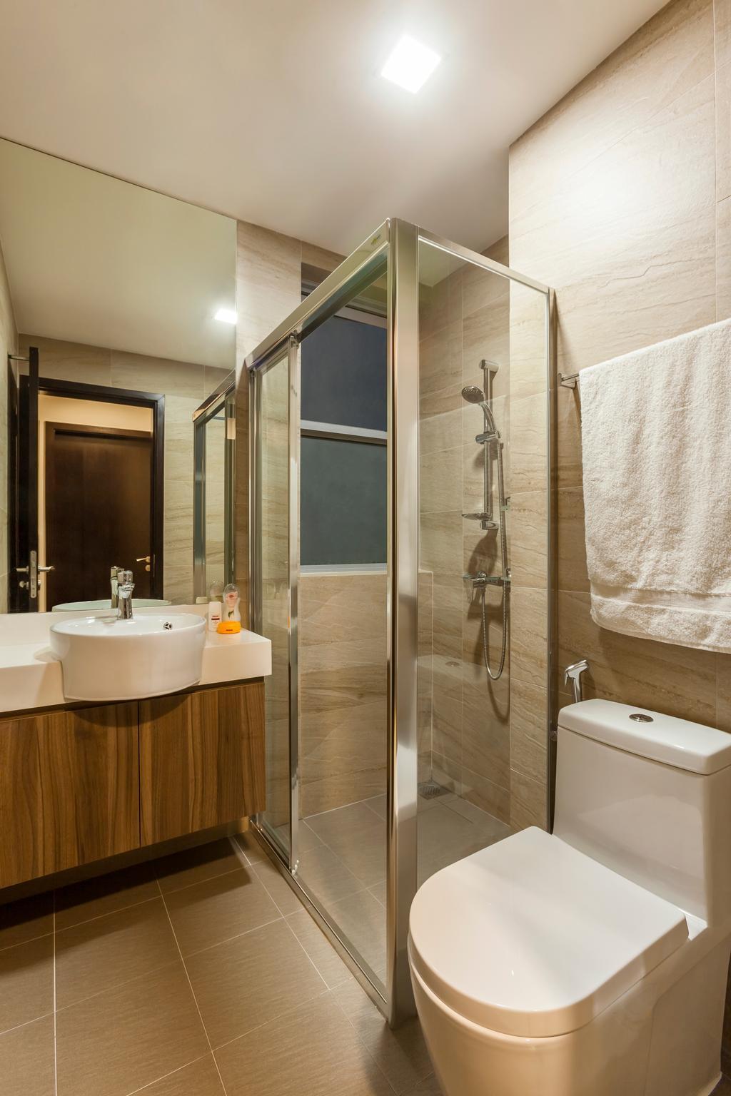 Modern, Condo, Bathroom, Casebella, Interior Designer, Rhiss Interior, Shower Screen, Down Light, Indoors, Interior Design, Room