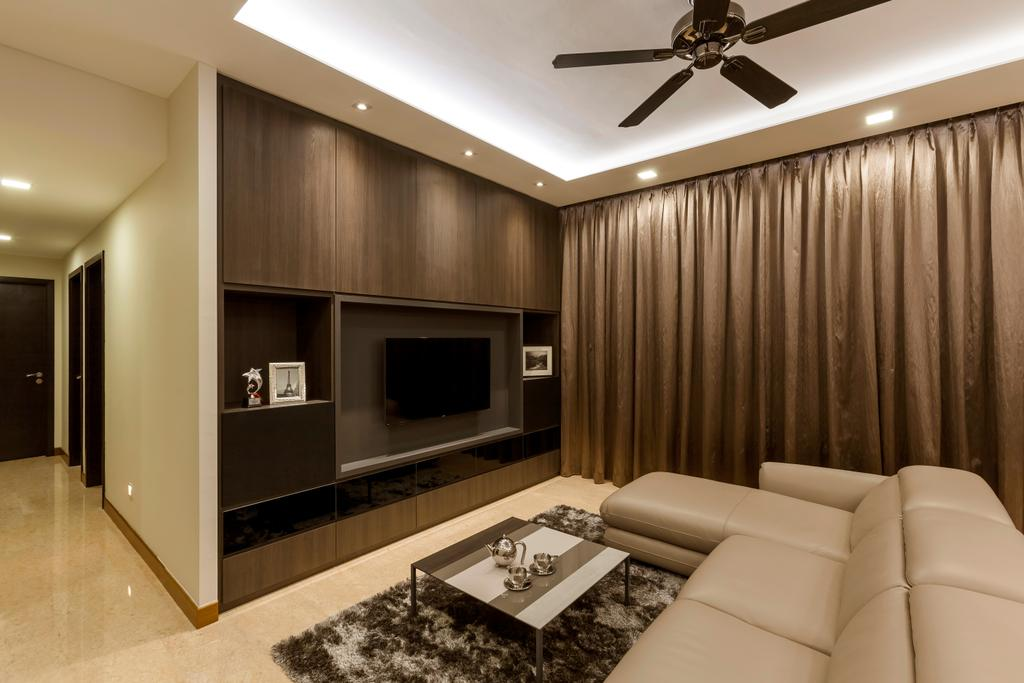 Modern, Condo, Living Room, Casebella, Interior Designer, Rhiss Interior, Ceiling Fan, Down Light, Cove Lights, Cream Leather Sofa, L Shaped Sofa, White Marble Tiles, Wood Feature Wall, Brown Curtain, Couch, Furniture, Electronics, Entertainment Center, Indoors, Interior Design, Room