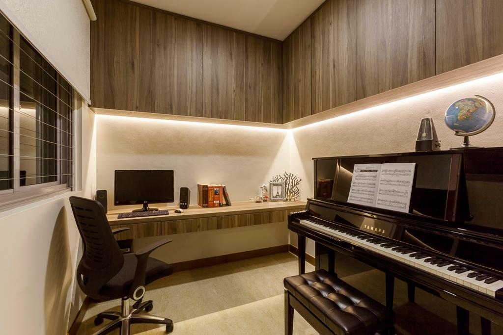 Modern, Condo, Study, Casebella, Interior Designer, Rhiss Interior, Cove Lights, Wood Book Cabinets, Black Piano, Study Desk, Roller Cair, White Roller Blinds, Indoors, Interior Design, Grand Piano, Leisure Activities, Music, Musical Instrument, Piano