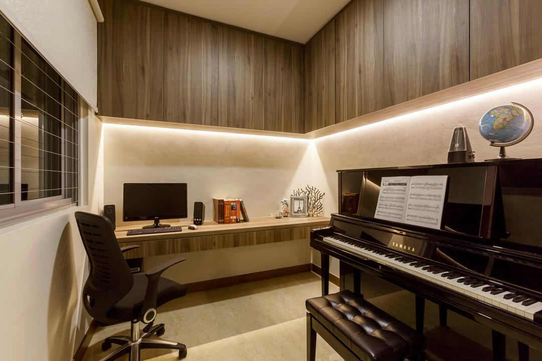 Casebella, Rhiss Interior, Modern, Study, Condo, Cove Lights, Wood Book Cabinets, Black Piano, Study Desk, Roller Cair, White Roller Blinds, Indoors, Interior Design, Grand Piano, Leisure Activities, Music, Musical Instrument, Piano