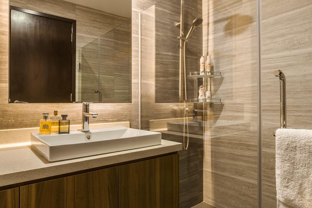 Casebella, Rhiss Interior, Modern, Bathroom, Condo, Shower Screeen, Down Light, Wood Cabinet, Indoors, Interior Design, Room, Sink