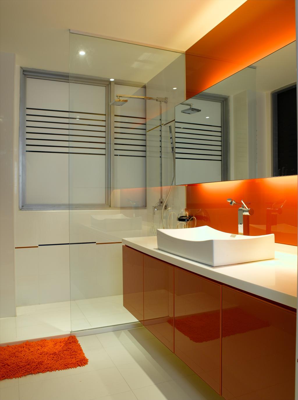 Modern, Condo, Bathroom, UE Square, Interior Designer, Rhiss Interior, Orange Bathroom, , Shower Screen, Sink
