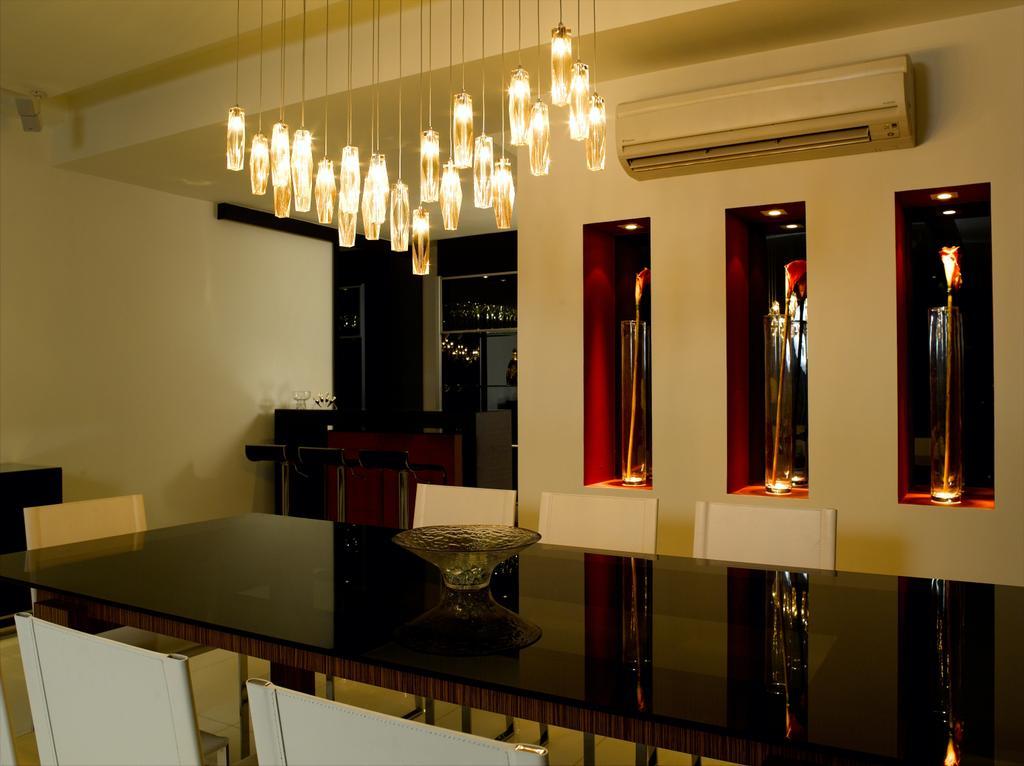 Modern, Condo, Dining Room, UE Square, Interior Designer, Rhiss Interior, Dining Room Hanging Lights, Black Glass Tbale, Appliance, Electrical Device, Fridge, Refrigerator, Indoors, Interior Design, Room