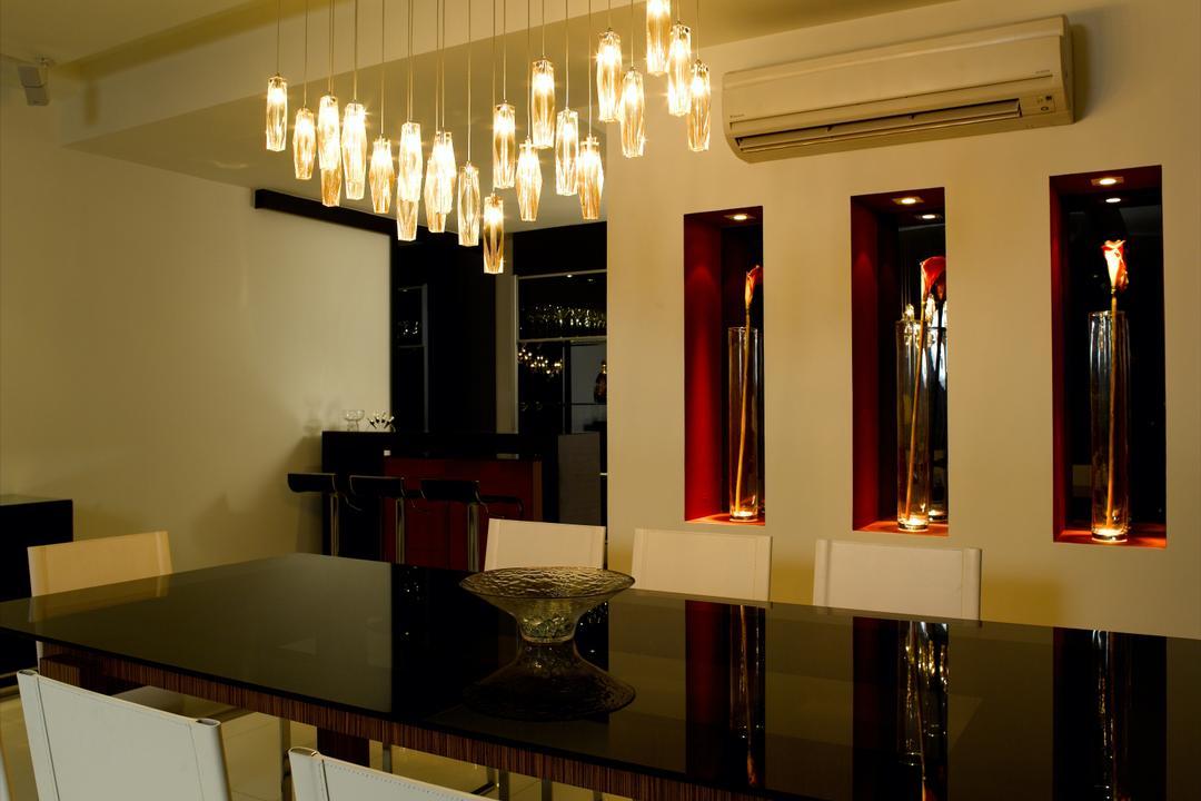 UE Square, Rhiss Interior, Modern, Dining Room, Condo, Dining Room Hanging Lights, Black Glass Tbale, Appliance, Electrical Device, Fridge, Refrigerator, Indoors, Interior Design, Room