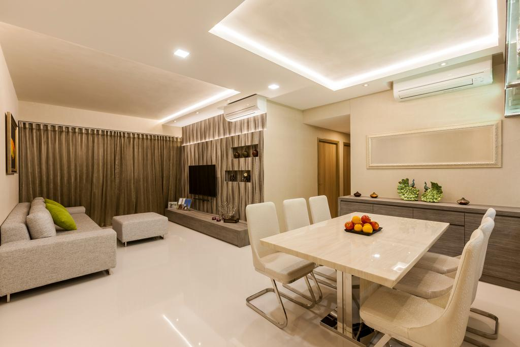 Contemporary, Condo, Dining Room, Waterfront Gold, Interior Designer, Rhiss Interior, White Dining Table, White Dining Chairs, White Marble Floor, Light Grey Fabric Sofa, Light Grey Ottoman, Cove Light, Down Light, Indoors, Interior Design, Dining Table, Furniture, Table, Lighting, Room
