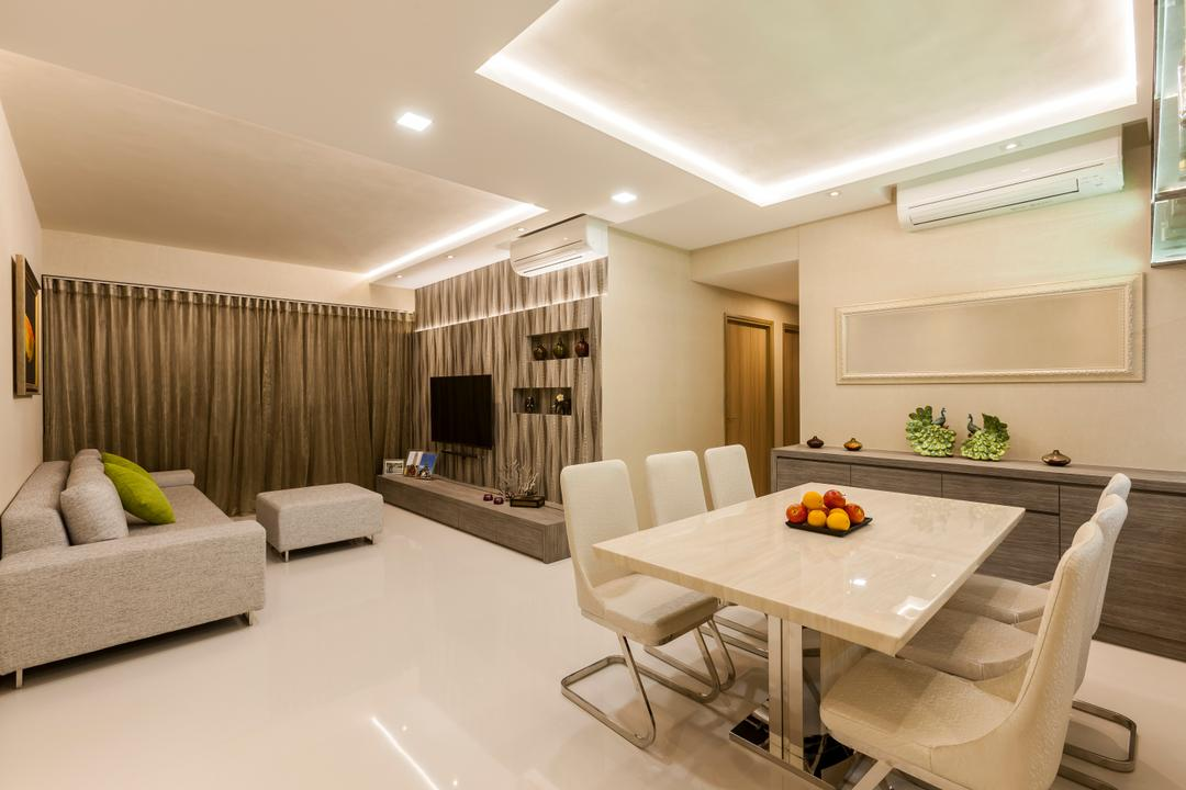Waterfront Gold, Rhiss Interior, Contemporary, Dining Room, Condo, White Dining Table, White Dining Chairs, White Marble Floor, Light Grey Fabric Sofa, Light Grey Ottoman, Cove Light, Down Light, Indoors, Interior Design, Dining Table, Furniture, Table, Lighting, Room