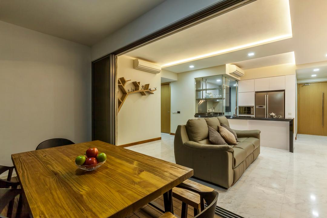 Waterfront Isle, Rhiss Interior, Traditional, Dining Room, Condo, Wood Dining Table, Cove Lights, Down Lights, White Marble Floor, Black Island Table, Dry Kitchen, Dining Table, Furniture, Table, Indoors, Room, Interior Design, Plywood, Wood