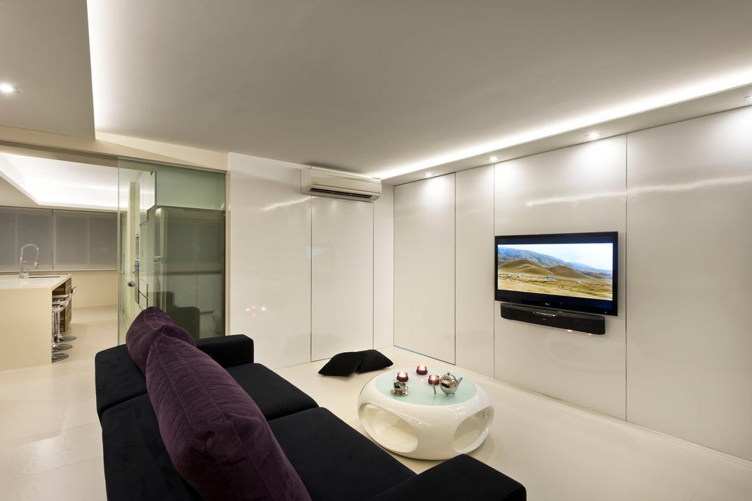 Telok Blangah Crescent (Block 23), Rhiss Interior, Modern, Living Room, HDB, White Living Room, Black Sofa, White Feature Wall, Down Lights, Cove Lights, White Floor