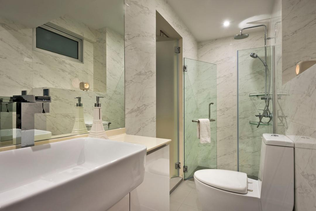 Telok Blangah Crescent (Block 23), Rhiss Interior, Modern, Bathroom, HDB, White Bathroom, Marble Wall Tiles, Shower Screen, Indoors, Interior Design, Room