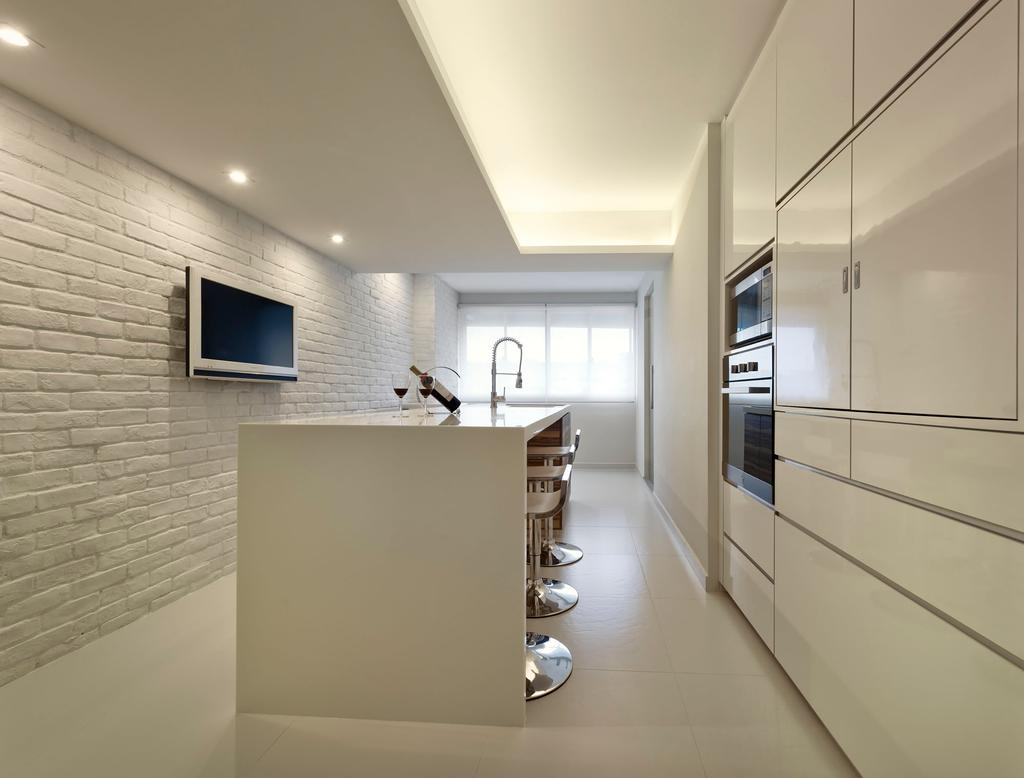 Modern, HDB, Kitchen, Telok Blangah Crescent (Block 23), Interior Designer, Rhiss Interior, Dry Kitchen, White Brick Wall, White Cabinets, White Island Table, Bathroom, Indoors, Interior Design, Room, Architecture, Building, Skylight, Window