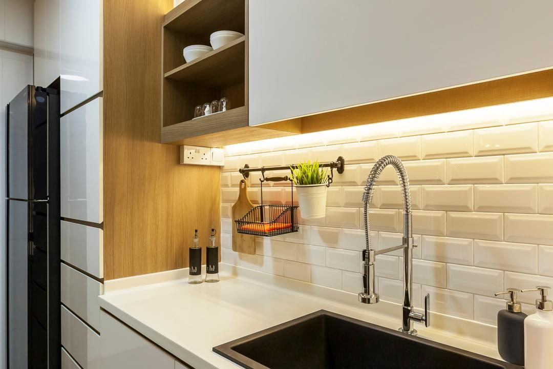 Tampines (Block 870A), Rhiss Interior, Industrial, Kitchen, HDB, White Tiles Wall, White Kitchen, White Solid Top, White Cabinet, Indoors, Interior Design, Shelf