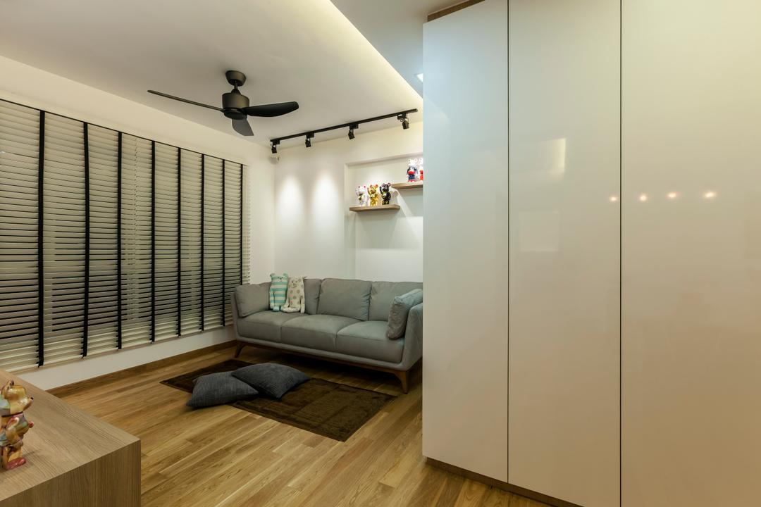 Tampines (Block 870A), Rhiss Interior, Industrial, Living Room, HDB, White Long Cabinets, Grey Sofa, Black Track Lights, Black Spin Fan, White Venetian Blinds, Wood Floor, Building, Housing, Indoors, Interior Design