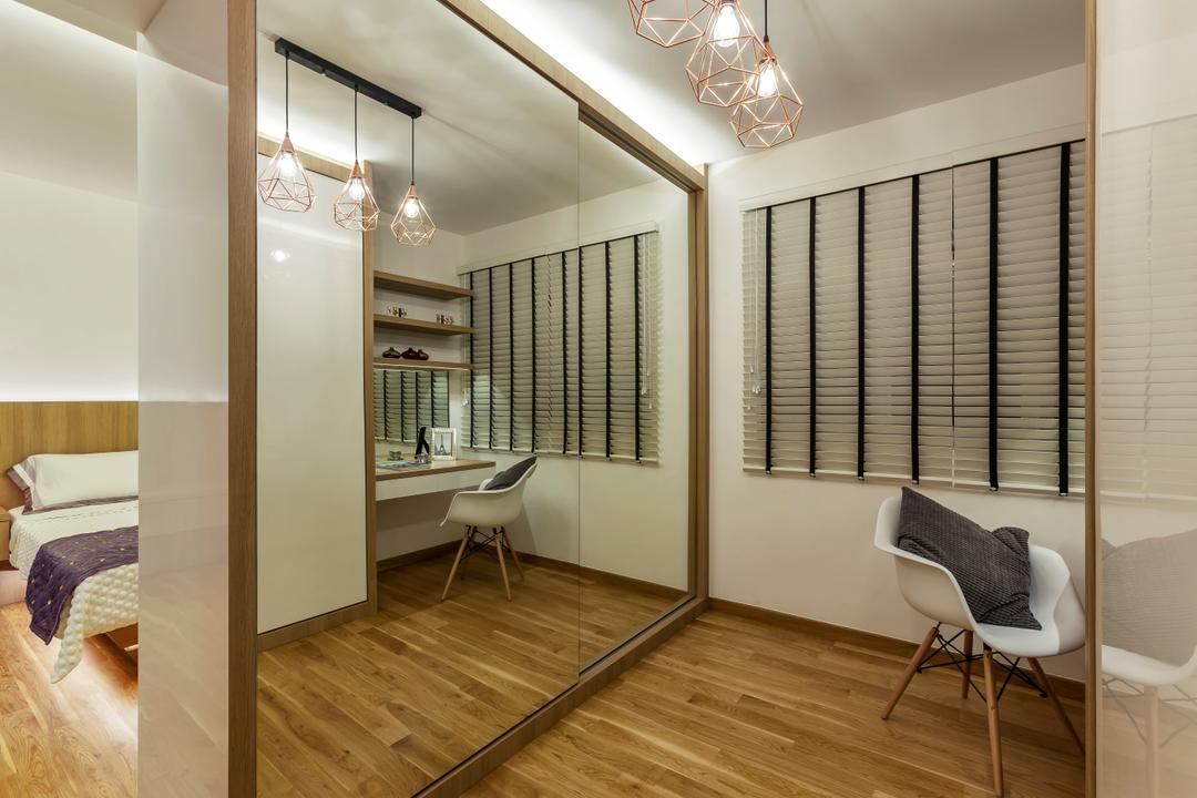 Tampines (Block 870A), Rhiss Interior, Industrial, Bedroom, HDB, Indutrial Lights, White Cenetian Blinds, Parquet, Mirror Wardrobe, Partition, Walk In Wardrobe, Indoors, Interior Design, Flooring
