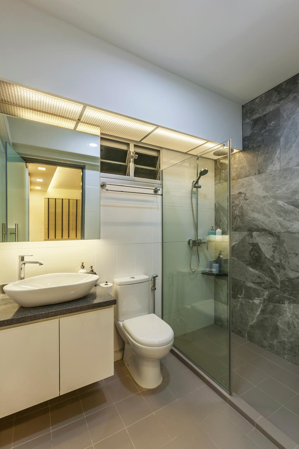 Industrial, HDB, Bathroom, Tampines (Block 870A), Interior Designer, Rhiss Interior, Shower Screen, Indoors, Interior Design, Room, Toilet