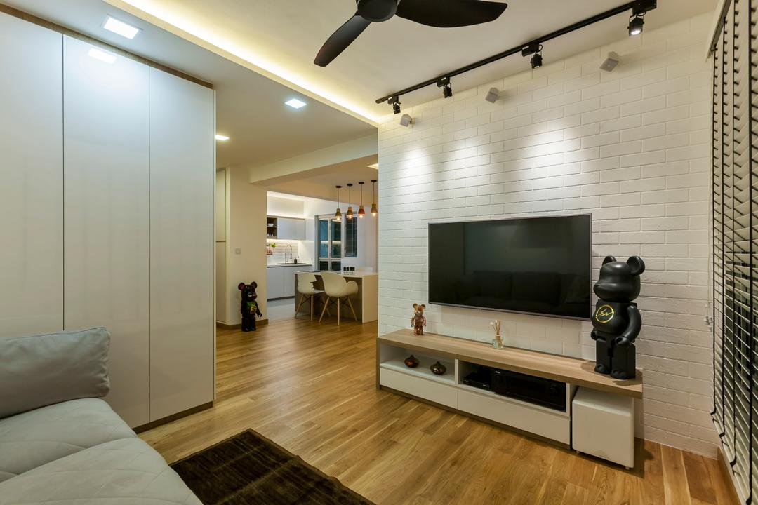 Tampines (Block 870A), Rhiss Interior, Industrial, Living Room, HDB, White Brick Walls, Black Track Lights, Black Spin Fan, Cove Lights, Wood Floor, White Long Cabinets, Wood Tv Console, White Ceneition Blinds, Indoors, Interior Design