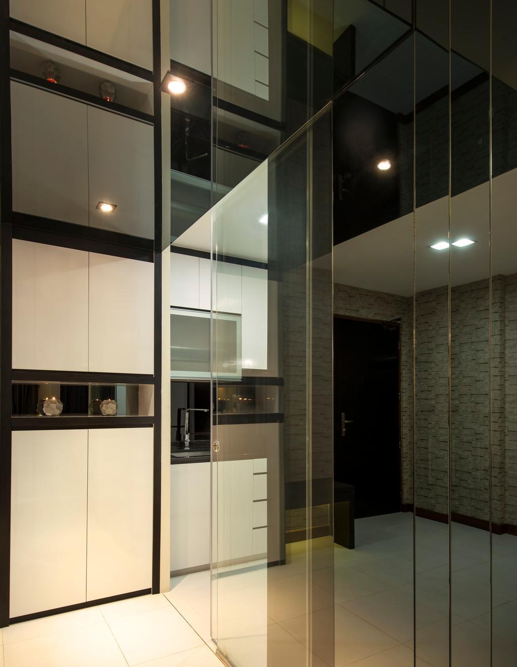 Contemporary, HDB, Kitchen, Punggol Drive (Block 618A), Interior Designer, Rhiss Interior, Lighting, Door, Sliding Door