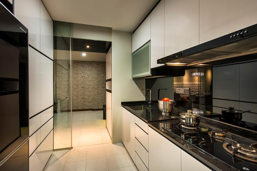 Punggol Drive (Block 618A), Rhiss Interior, Contemporary, Kitchen, HDB, White Cabinets, Granite Table Top, Black Wall Backing, Elevator