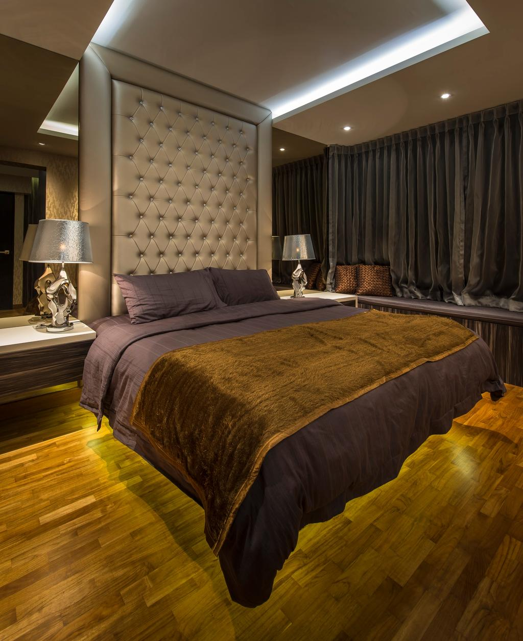 Contemporary, HDB, Bedroom, Punggol Drive (Block 618A), Interior Designer, Rhiss Interior, Parquet, Cove Lights, Down Lights, White Head Board, Couch, Furniture, Bed