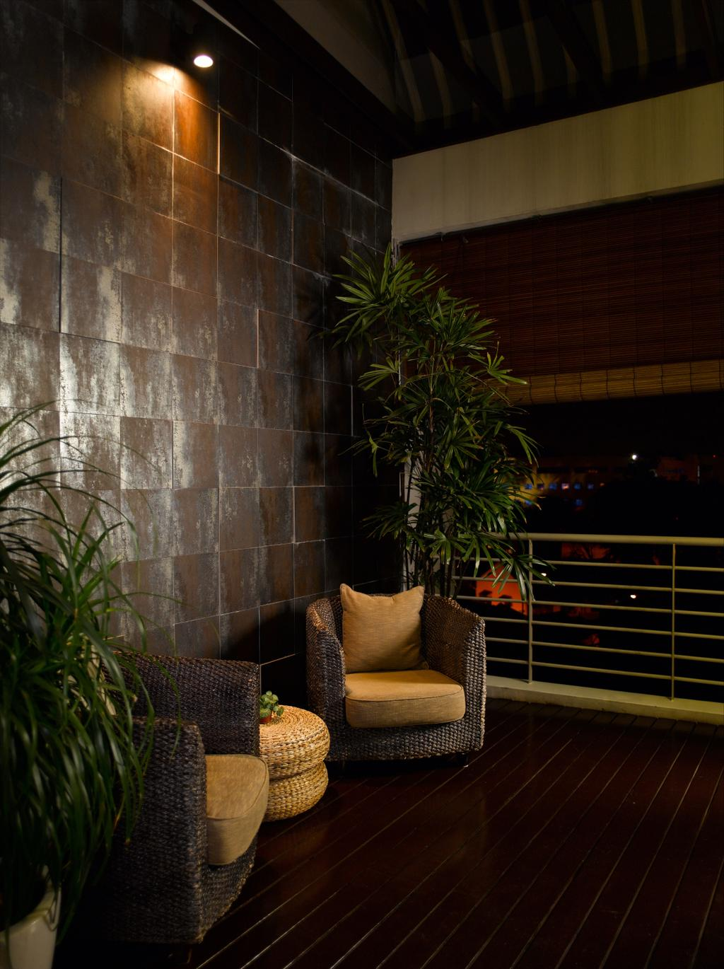 Contemporary, Landed, Balcony, Taman Siglap, Interior Designer, Rhiss Interior, Resort Chairs, Rattan Chairs, Flora, Jar, Plant, Potted Plant, Pottery, Vase, Chair, Furniture, Night, Outdoors