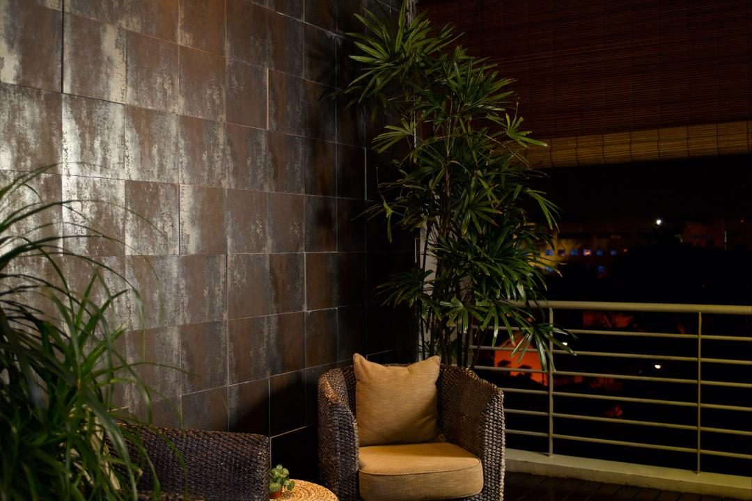 Taman Siglap, Rhiss Interior, Contemporary, Balcony, Landed, Resort Chairs, Rattan Chairs, Flora, Jar, Plant, Potted Plant, Pottery, Vase, Chair, Furniture, Night, Outdoors