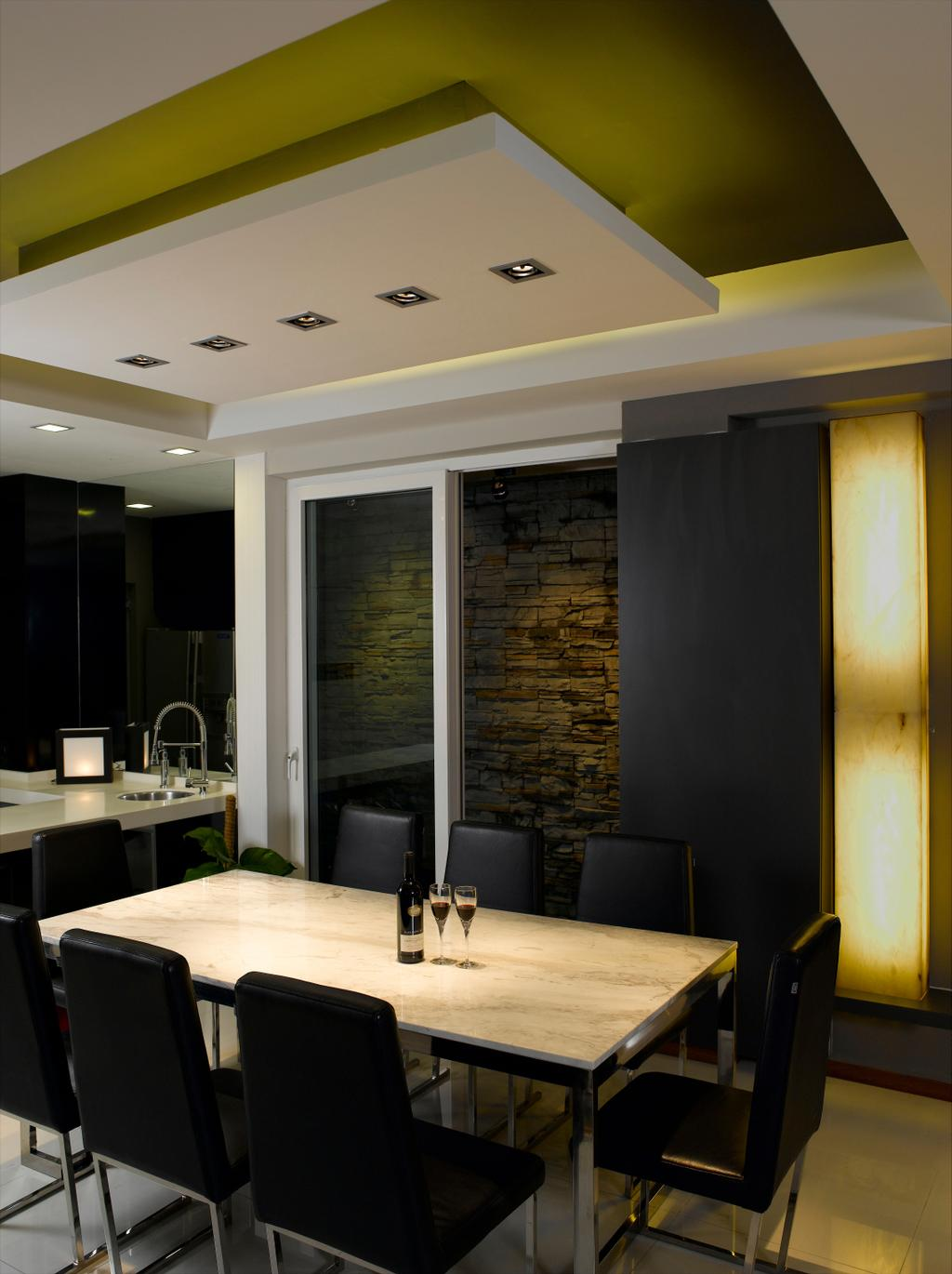 Contemporary, Landed, Dining Room, Taman Siglap, Interior Designer, Rhiss Interior, Craftstone Wall, Down Lights, Cove Lights, Marble Table, Dining Chairs, Indoors, Interior Design, Room
