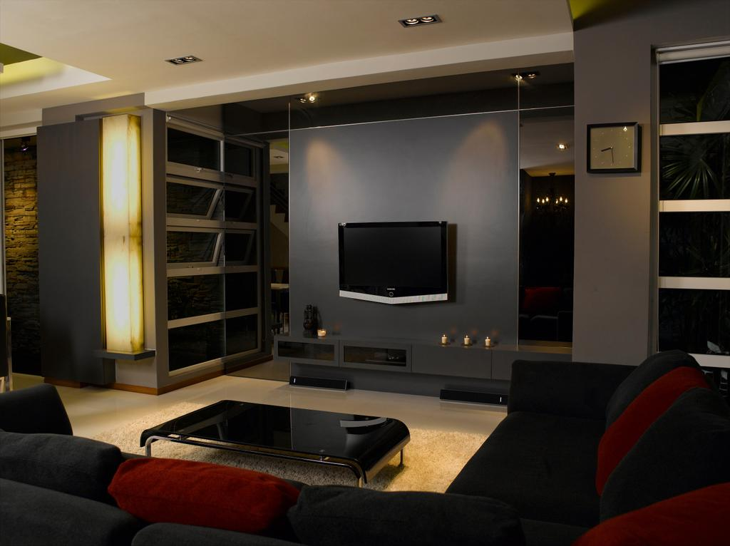 Contemporary, Landed, Living Room, Taman Siglap, Interior Designer, Rhiss Interior, Modern, Black Sofa, Black Feature Wall, Downlights, Black Tv Console, Couch, Furniture, Electronics, Entertainment Center, Home Theater, Lcd Screen, Monitor, Screen