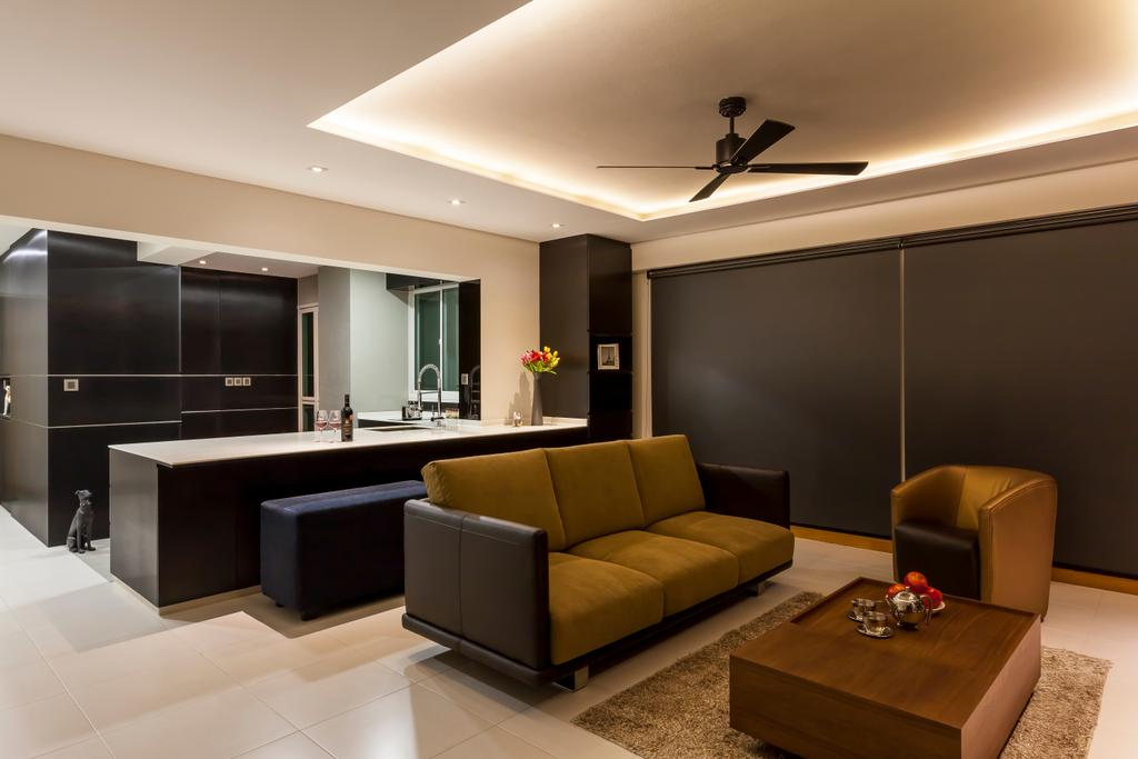 Contemporary, HDB, Living Room, Punggol Field (Block 268D), Interior Designer, Rhiss Interior, White Tiles, , Ceiling Fan, Down Lights, Brown Coffee Table, Dining Bench, Couch, Furniture