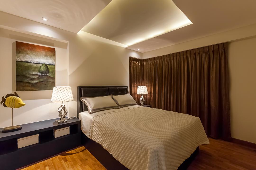 Punggol Field (Block 268D), Rhiss Interior, Contemporary, Bedroom, HDB, Cove Lights, Down Lights, Parquet, Black Bedside Table, Bedsite Table Lamps, Mold, Indoors, Room, Interior Design