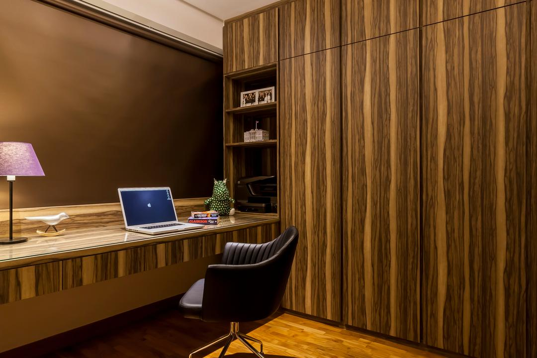 Punggol Field (Block 268D), Rhiss Interior, Contemporary, Study, HDB, Wood Wardrobe, Parquet, Down Lights, Cove Lights, Study Desk, Chair, Furniture, Computer, Electronics, Laptop, Pc
