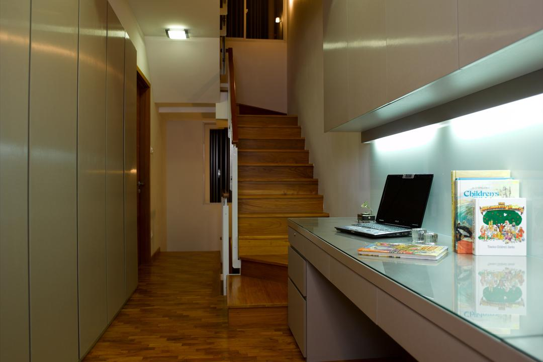Dalla Vale, Rhiss Interior, Contemporary, Study, Landed, Cove Lights, Parquet, Study Desk, Books Cabinets, Long Cabinets, Computer, Electronics, Laptop, Pc, Indoors, Interior Design, Banister, Handrail