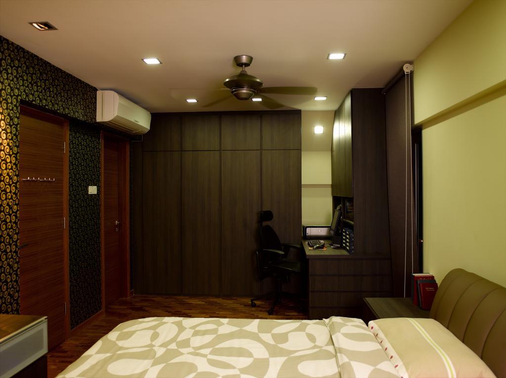 Contemporary, Landed, Bedroom, Dalla Vale, Interior Designer, Rhiss Interior, Dark Brown Wardrobe, Ceiling Fan, Indoors, Room