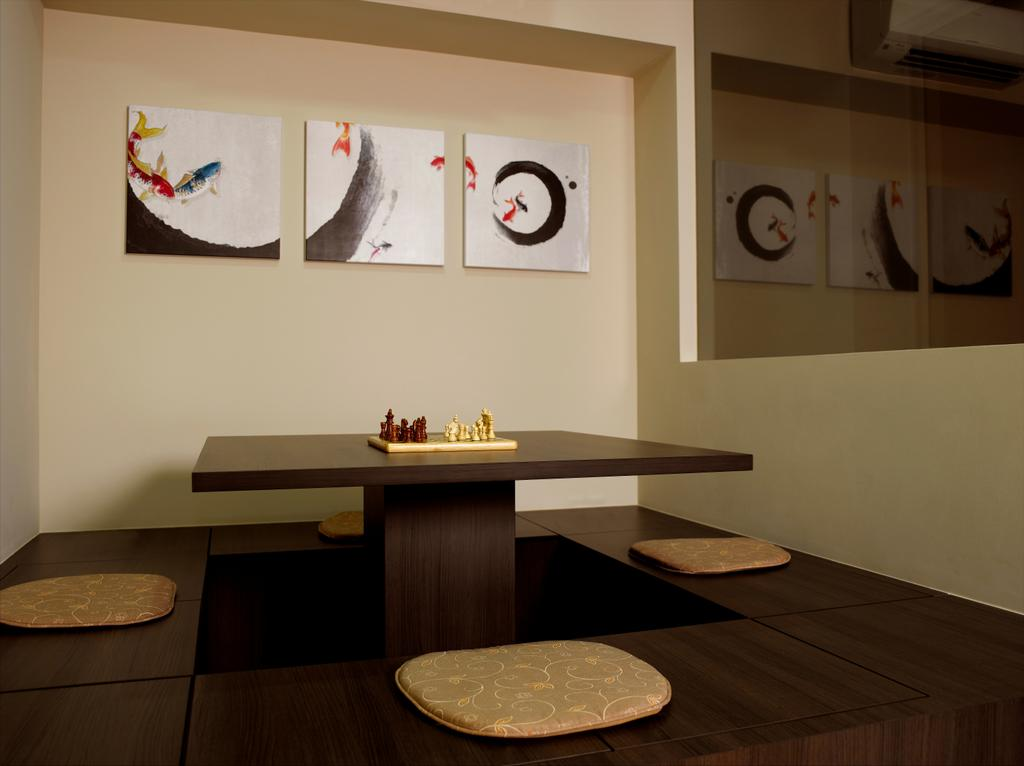 Contemporary, Landed, Dining Room, Dalla Vale, Interior Designer, Rhiss Interior, Korean Style Dining, Dark Brown Platform Dining, Plateform Dining, Clock, Indoors, Interior Design, Room, Dining Table, Furniture, Table